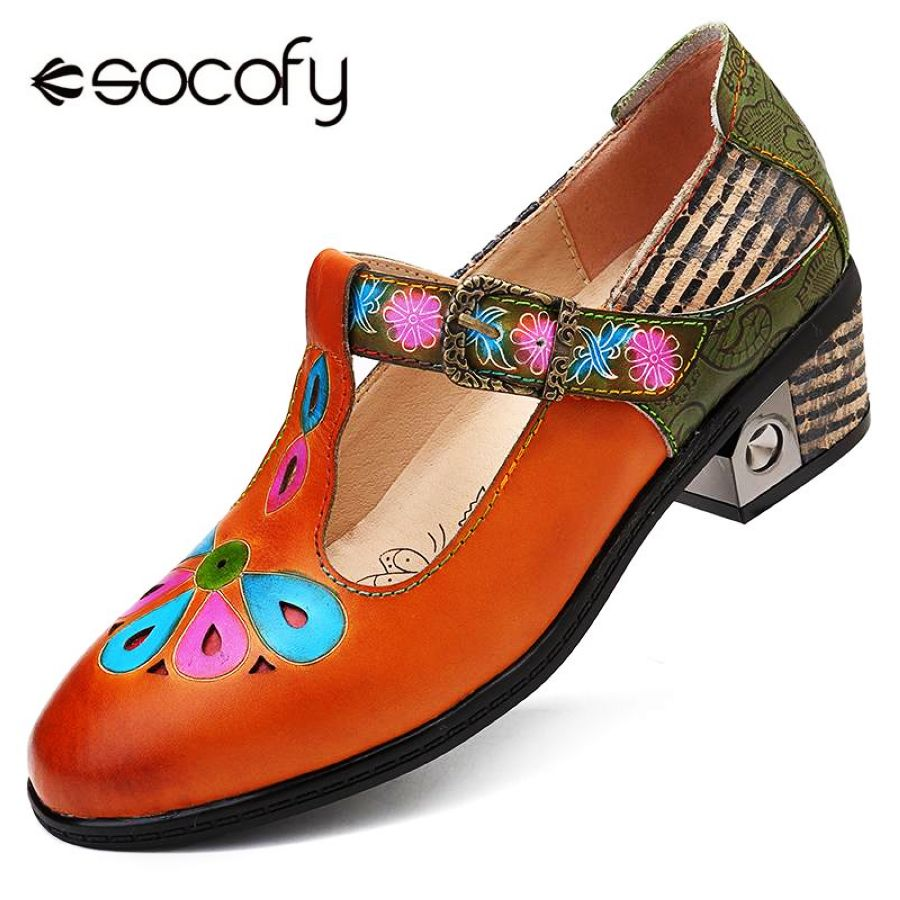 Shoes Socofy Vintage Hand Painted Genuine Leather Hollow Splicing Black