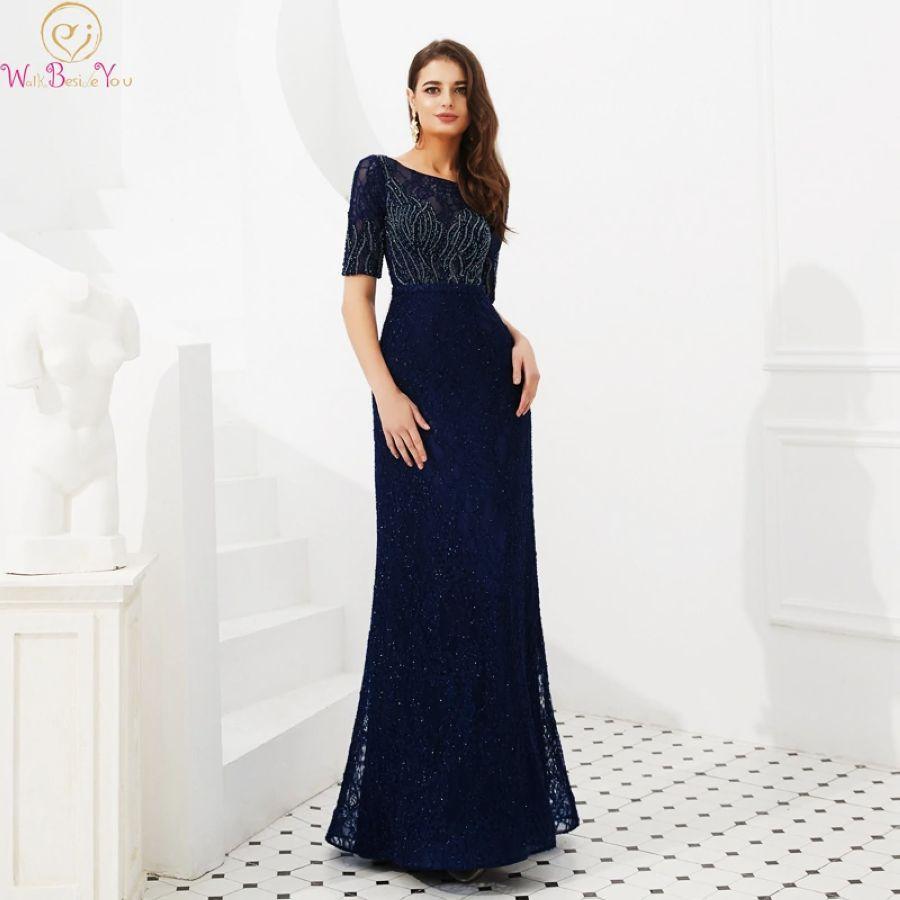 2019 Navy Blue Evening Dresses O-Neck Short Sleeves Mermaid Party
