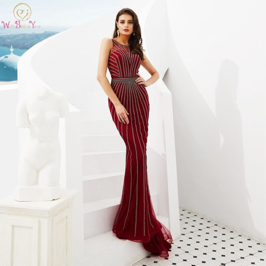 100 Real Pictures Mermaid Evening Dresses 2019 New Beading Sleeveless