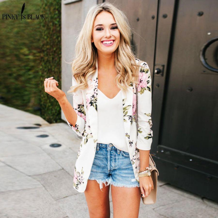 Pinkyisblack Spring Elegant Blazer Feminino Women Floral Long Sleeve Blazer