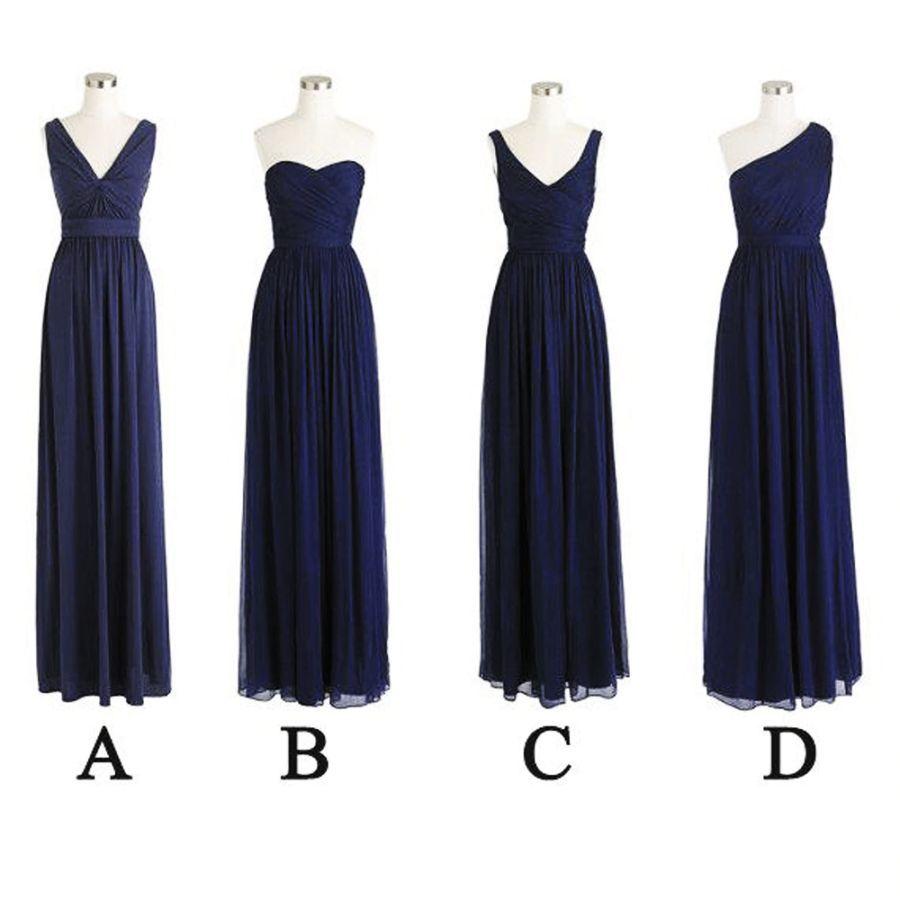 Superkimjo Navy Blue Bridesmaid Dresses Long Mismatched Chiffon Cheap Wedding