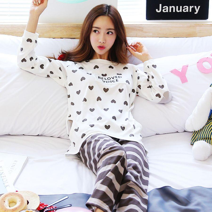 Pijama Feminino Pajamas For Women Sleepwear Pajama Set Fresh Students