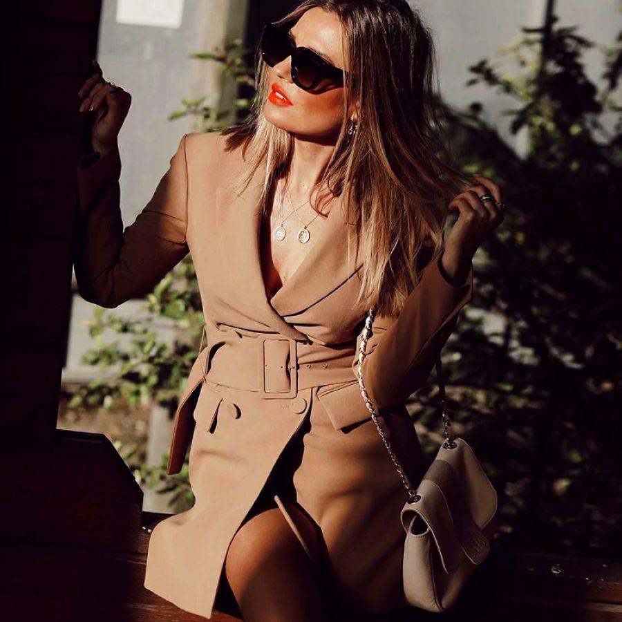 Khaki Women Elegant Long Blazers 2019 Spring-Autumn Ladies Chic Notched