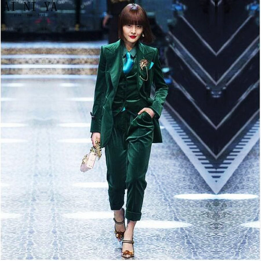 Dark Green Women Business Suits 3 Piece Set Women Tuxedo