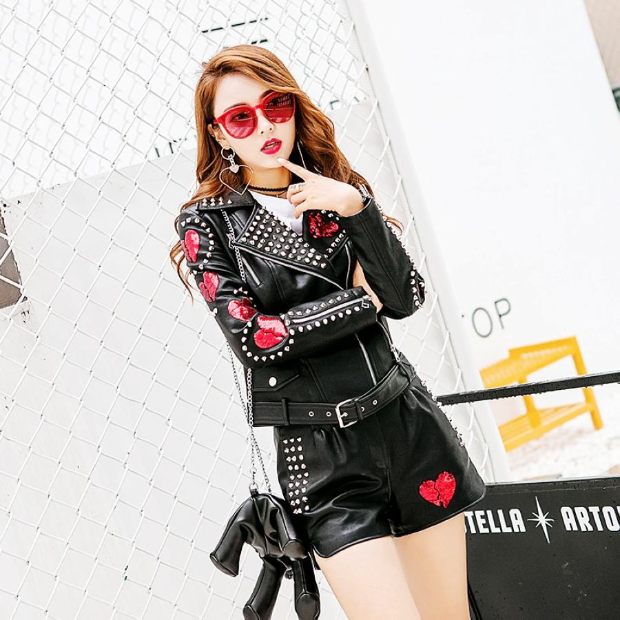 Hot New Leather Clothing Tops Leather Jacket Sequin Patch Decoration