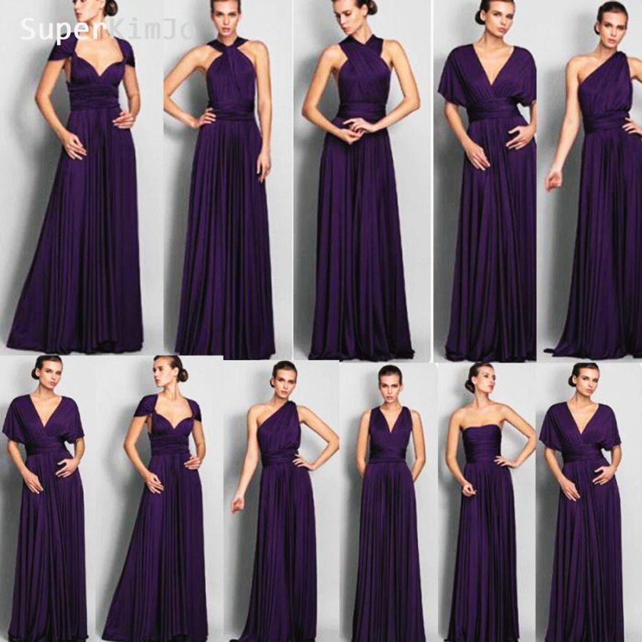 Superkimjo Convertible Bridesmaid Dresses Long 2019 Purple Satin Cheap Custom
