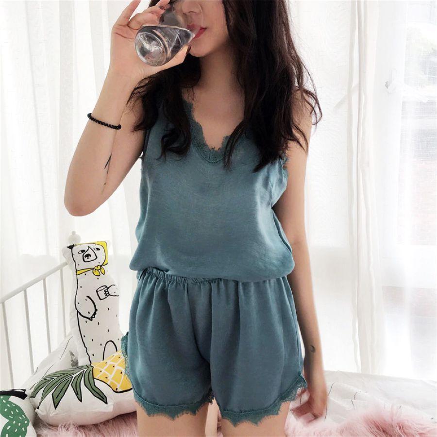 2019 Women Sleepwear Set Luxury Lace Satin Pajama Set Bathrobe