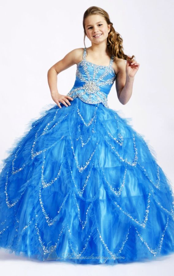 2019 New Baby Blue Organza Beaded Pick- Up Ball Gown
