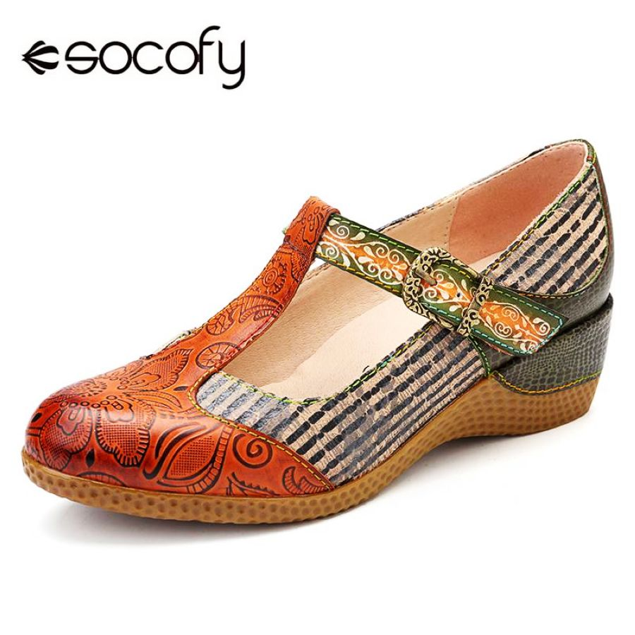Shoes Socofy Vintage Flowers Pattern Genuine Leather Splicing Black Stripes