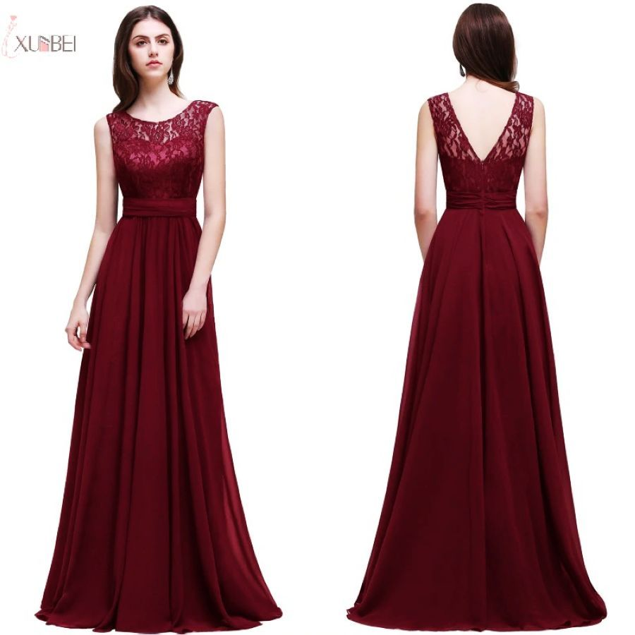 2019 Burgundy Chiffon Long Evening Dress Scoop Neck Sleeveless Evening