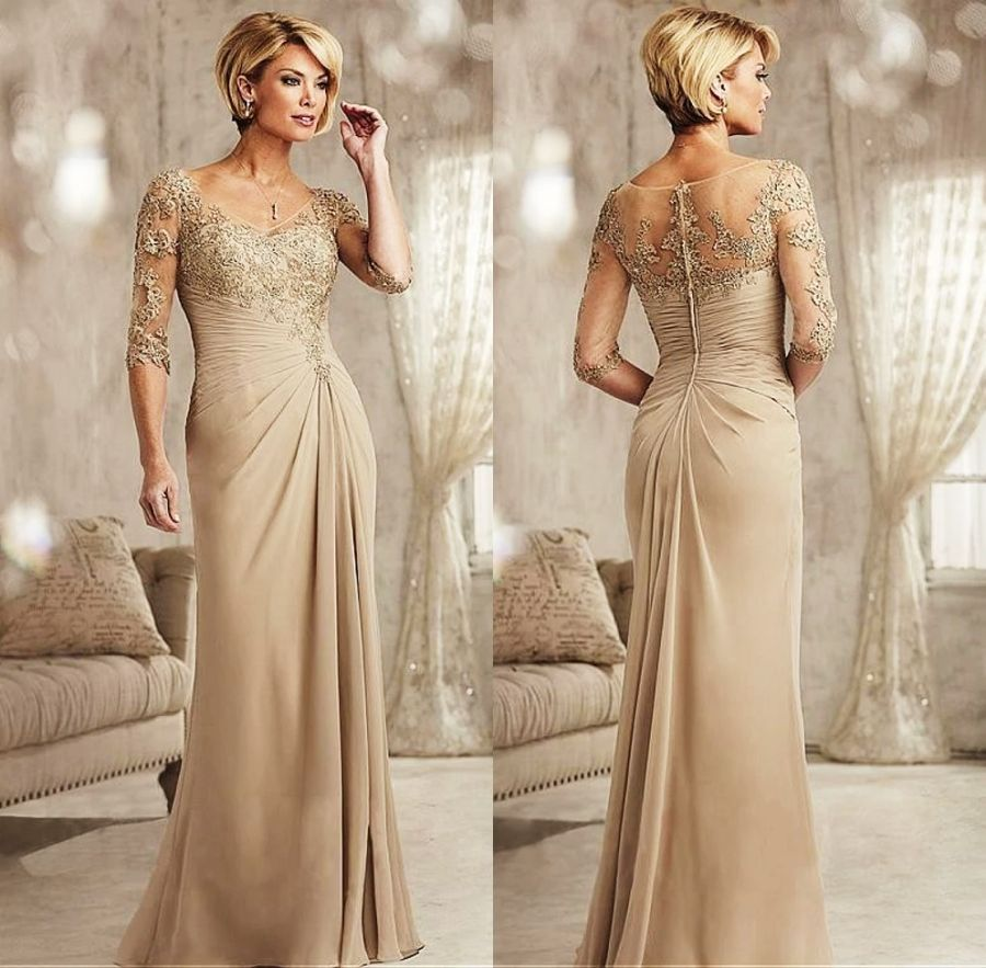 Beaded Lace Champagne Mother Of The Bride Dresses Plus Size