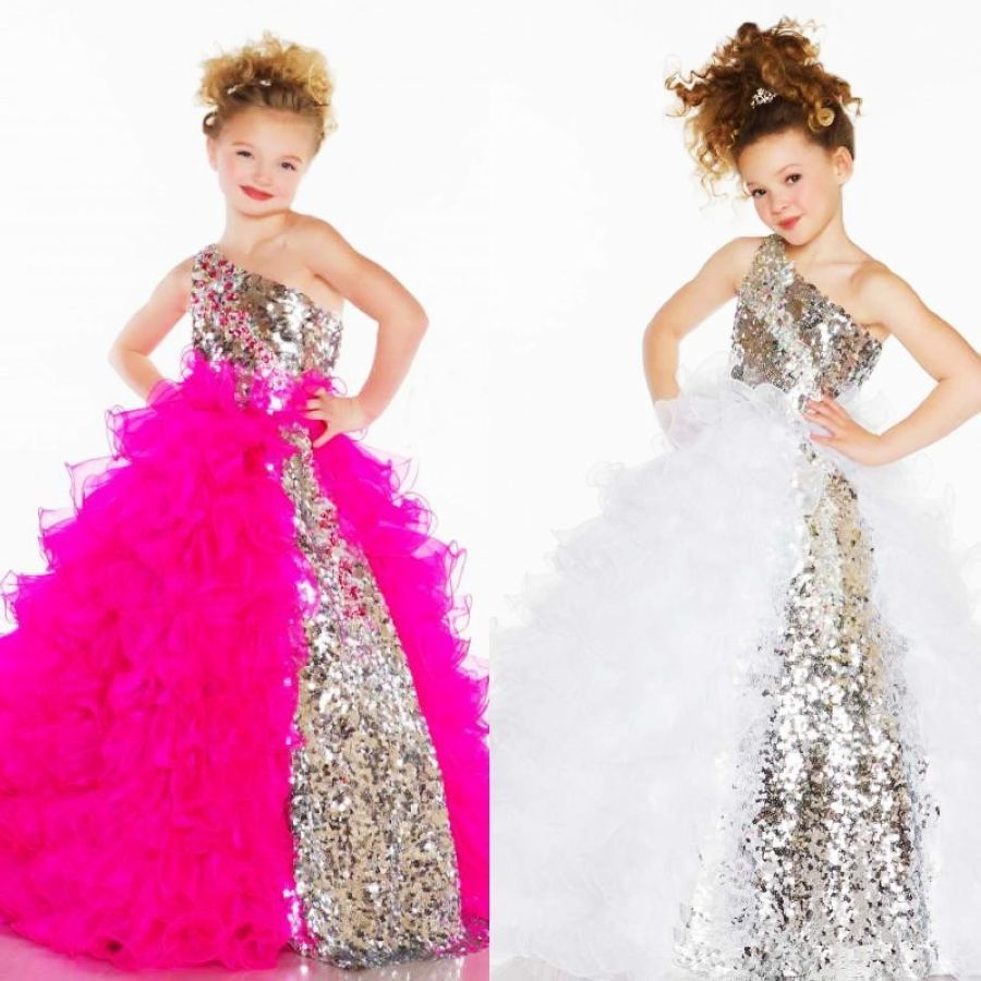 2019 Cute Lovely Sequins Crystal Ruffles A Line Tulle Girls