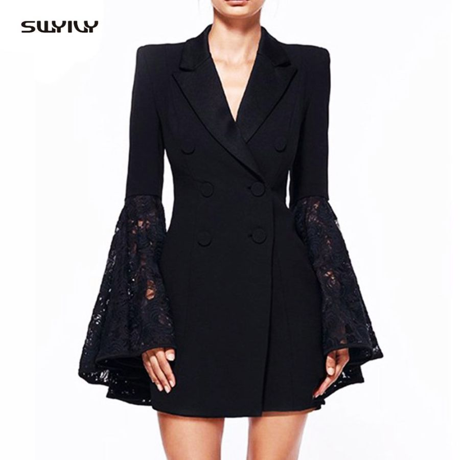 Swyivy Women Jackets Lapel Double-Breasted Trumpet Sleeves Long Suit Jacket