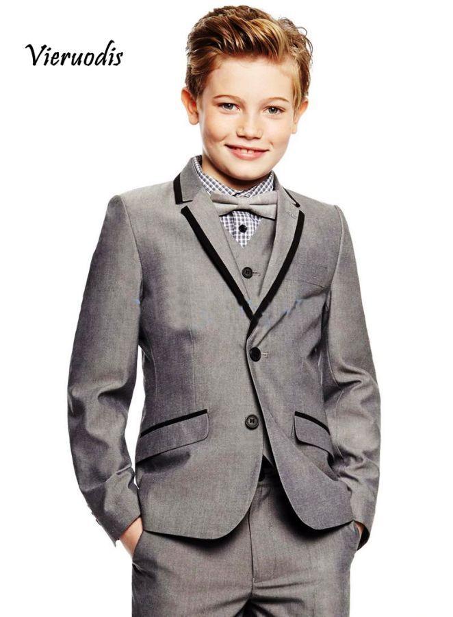 New Grey Boys Wedding Suits Kids Groom Tuxedos Children Suit