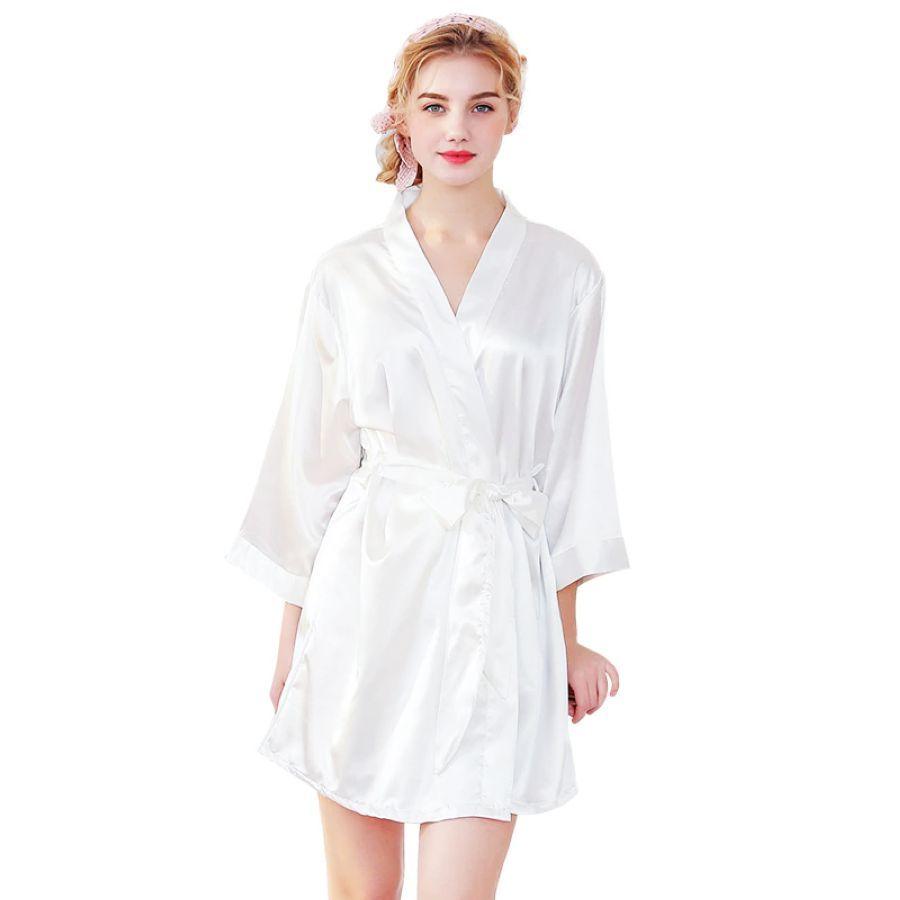 2019 Womens Sleepwear Robe Luxury Embroidery Dressing Gown Silk Satin