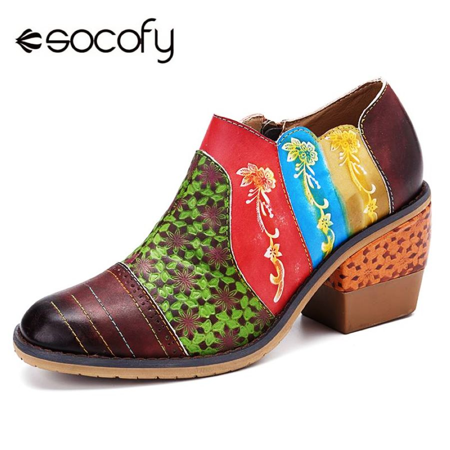 Shoes Socofy Vintage Flowers Pattern Splicing Colorful Genuine Leather Stitching