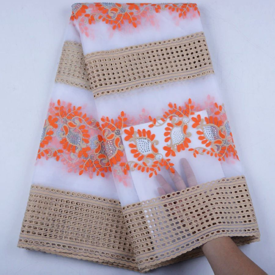 2019 Latest African Lace Fabric With Stones Embroidery Mesh Tulle