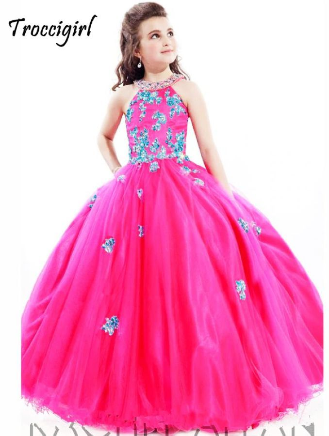 Lovely Lace Appliques Beaded Flower Kids Party Dresses For Girls
