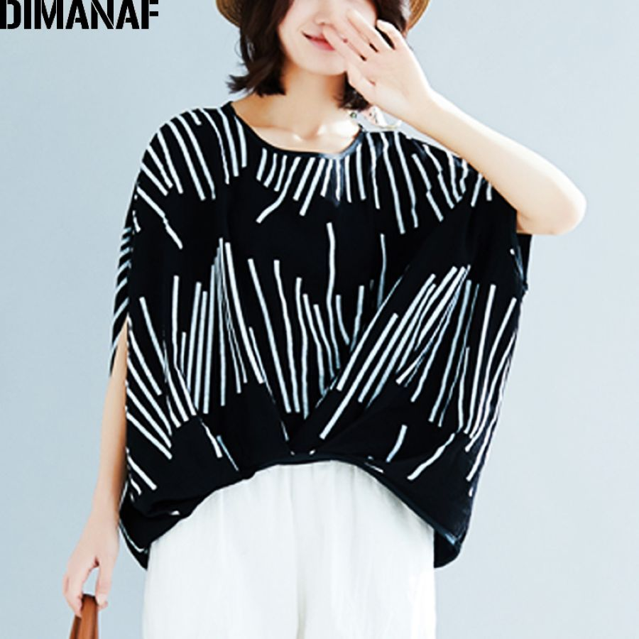 Dimanaf Plus Size Women T-Shirts Summer Basic Lady Tops Tee