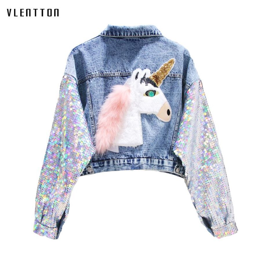 2019 New Sequin Denim Jacket Women Street Style Pattern Short