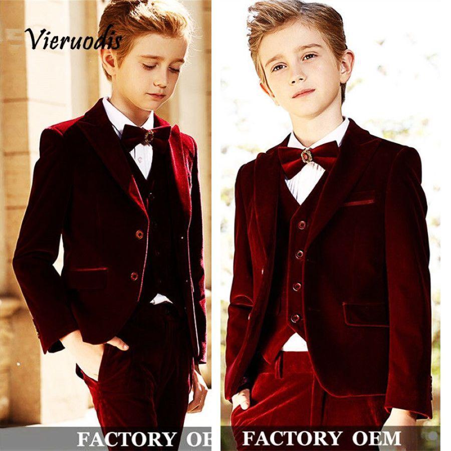 Velvet Boys Suits For Wedding Formal Groom Tuxedos Slim Kids