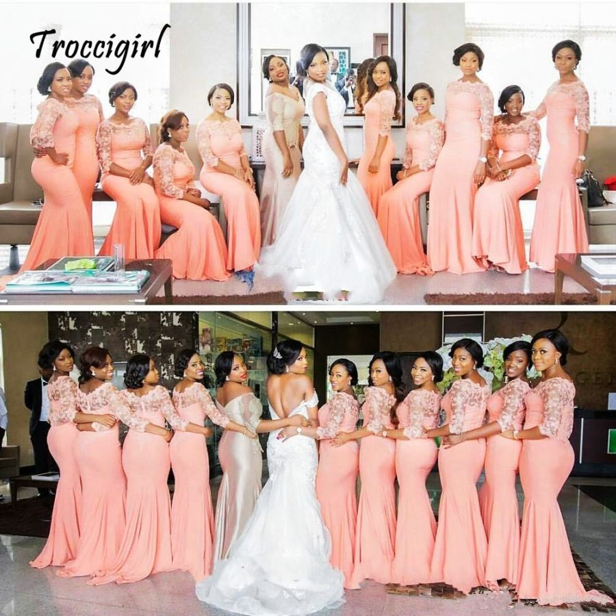Arabic African Coral Long Bridesmaid Dresses With Half Sleeves Plus