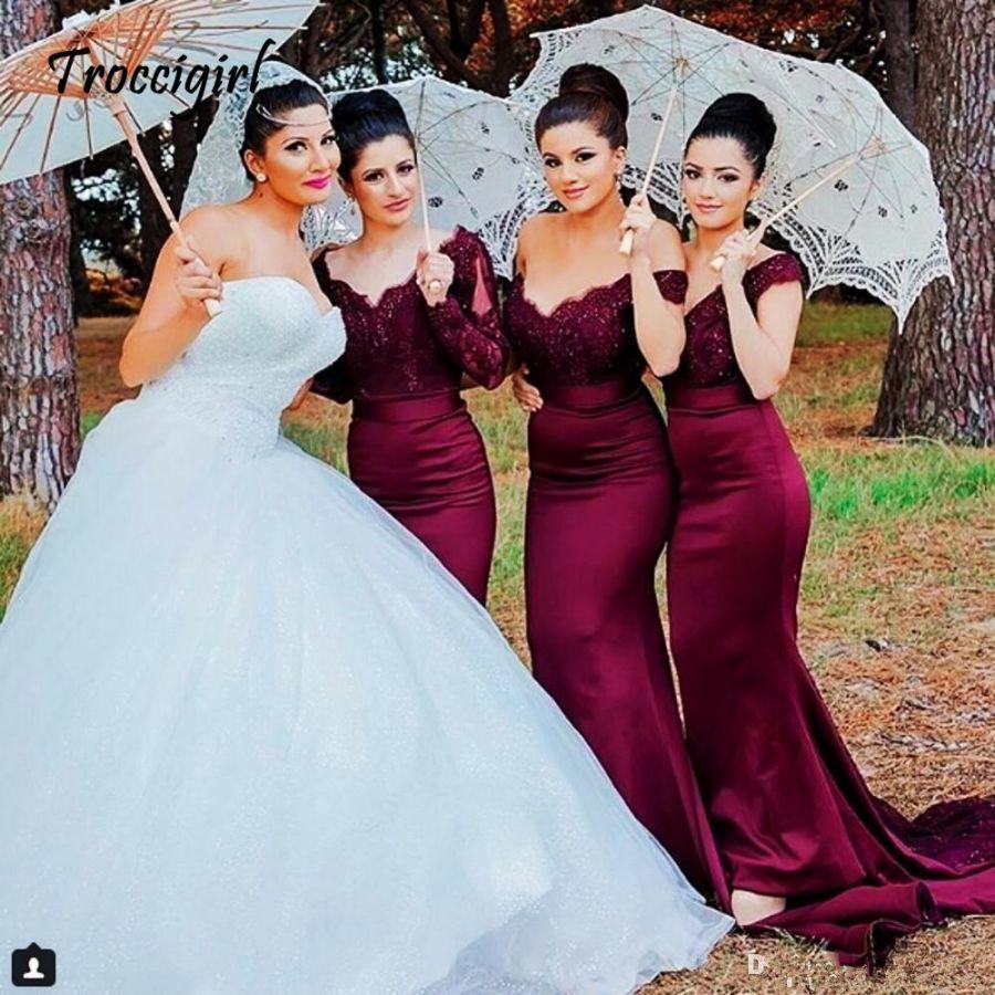 Lace Burgundy Bridesmaid Dresses Hot Mermaid Long Sleeve Beaded Long