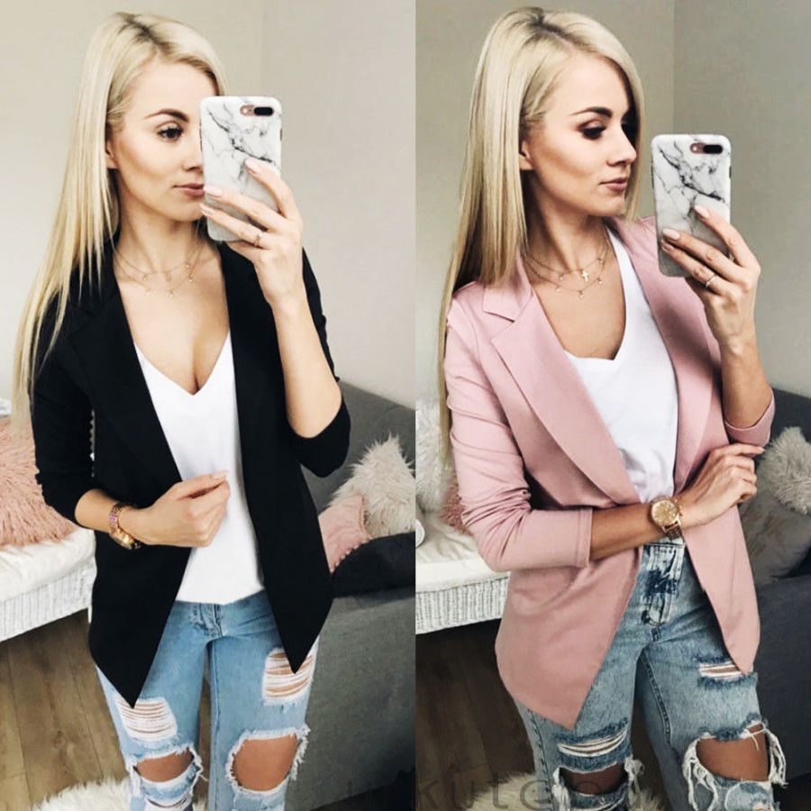 2019 Fashion Women Casual Suit Coat Business Blazer Long Sleeve