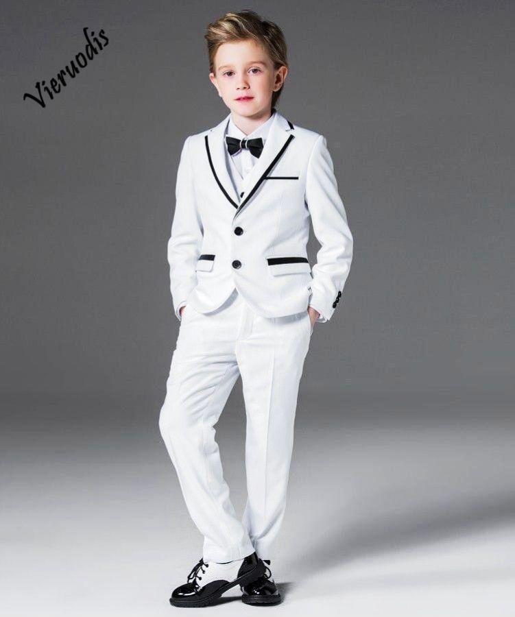 White Notch Lapel Kids Handsome Suits Wedding Groom Tuxedos Boys