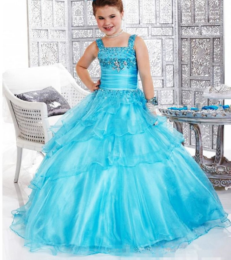 Beautiful Flower Girl Dresses Square Collar Floor-Length Girl Gowns Appliques