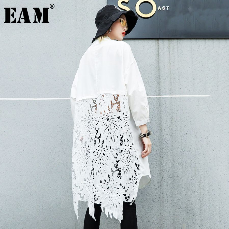 2019 New Autumn Winter Stand Collar Long Sleeve Back Lace