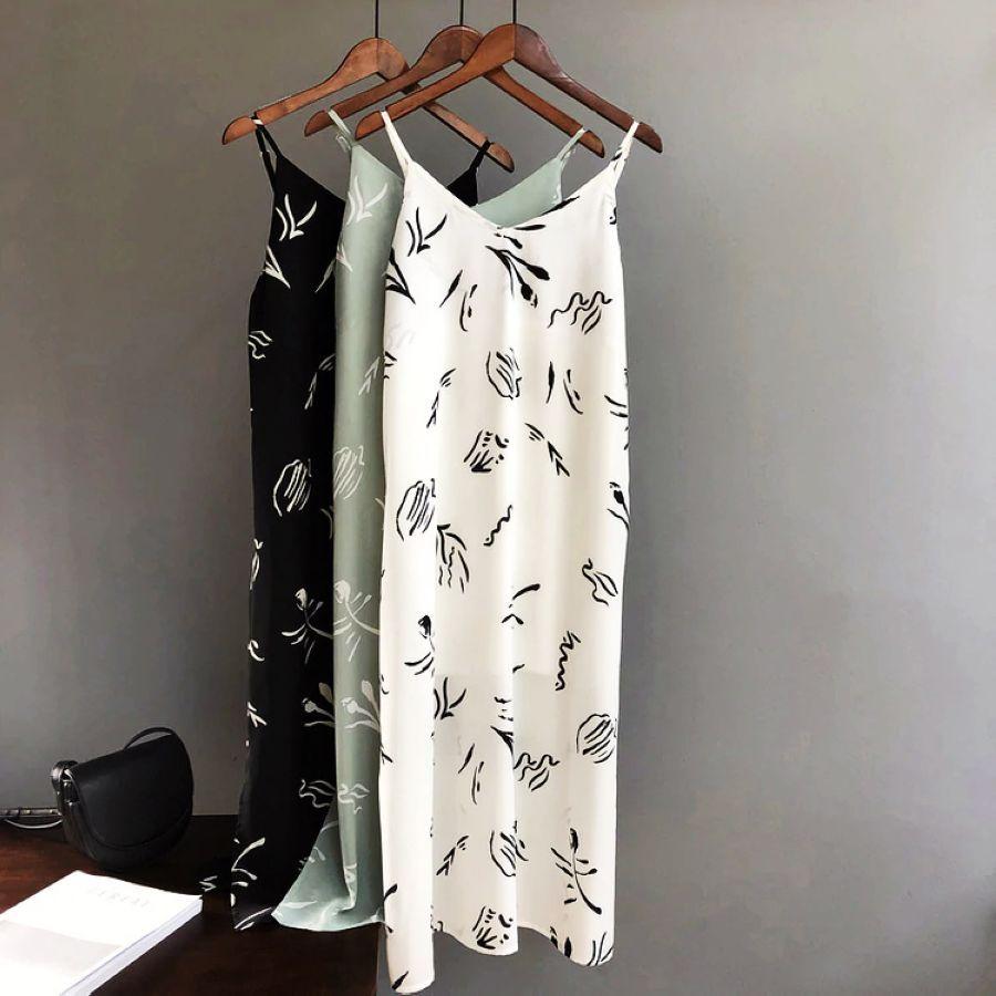 Mooirue Summer 2019 Women Tank Dress Casual Stripe White Green