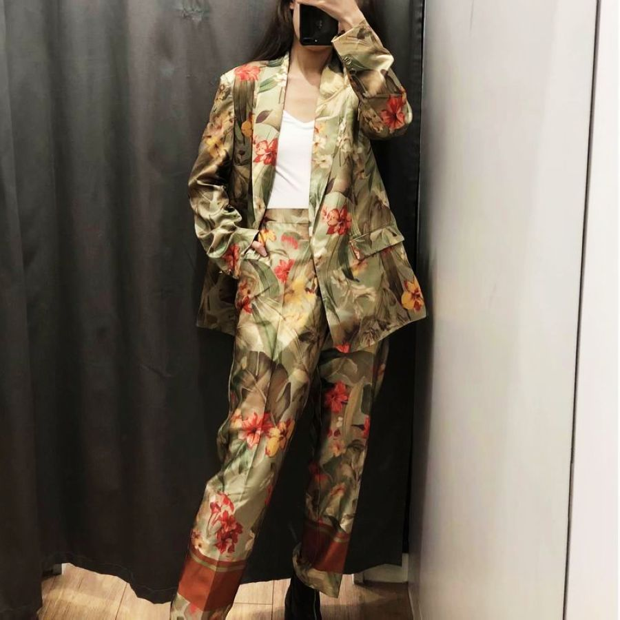 Women Pant Suits Spring 2019 New Fashion Floral Prints Clothing