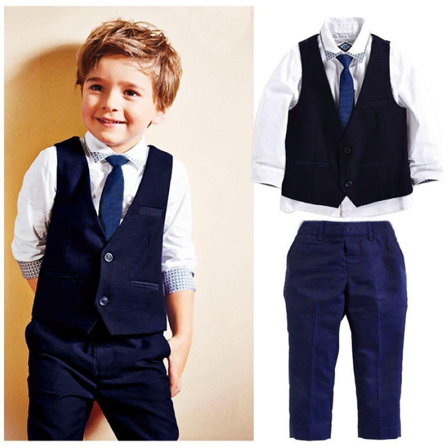 Kids Boys Formal Suits Blazers Sets 3 Pcs Clear Gentleman