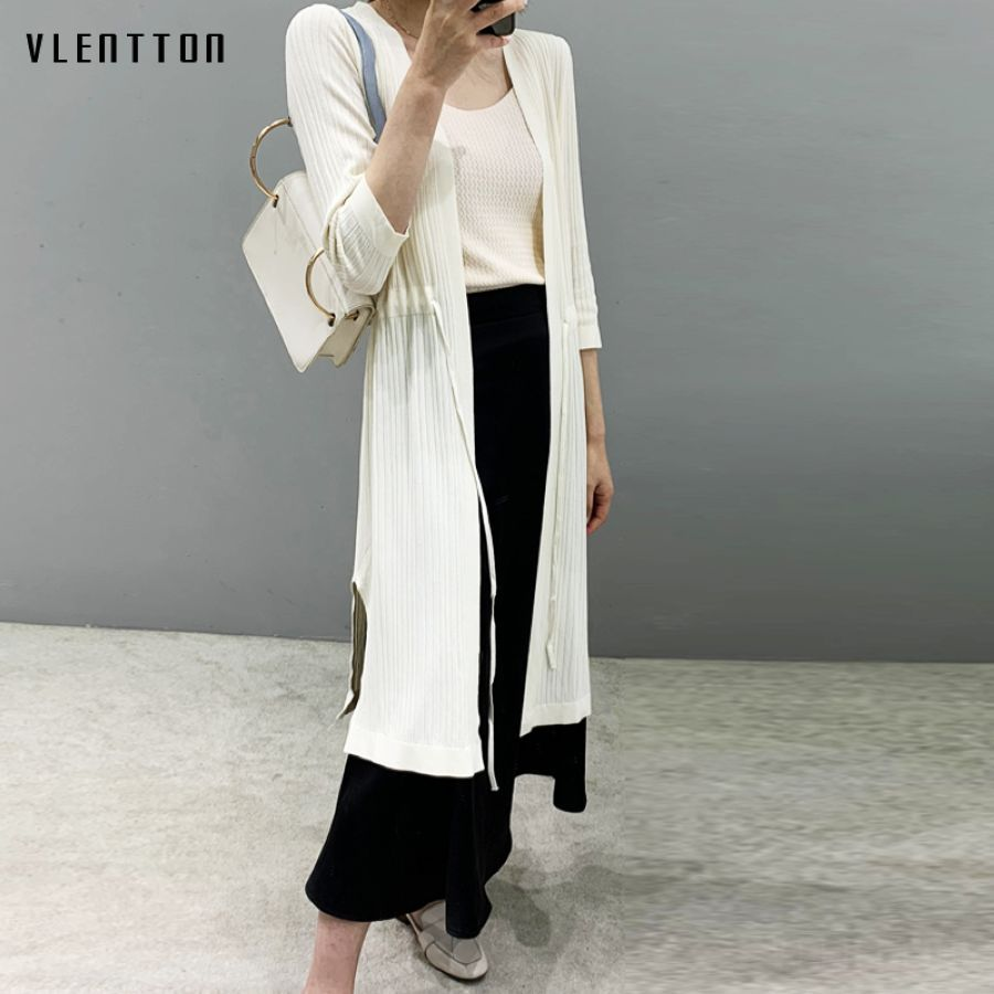 2019 Fashion Spring Summer Knitted Long Cardigan Women Casual 3-4