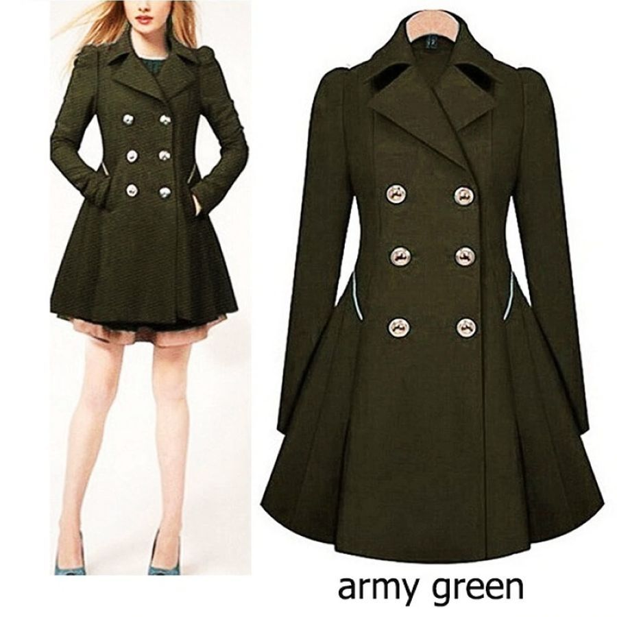 Brand Plus Size Trench Coat Womens Double Breasted Warm Windbreaker