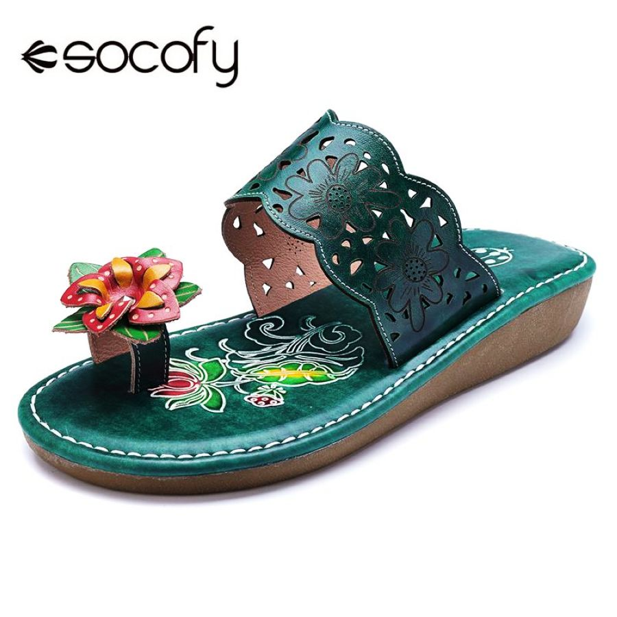 Shoes Socofy New Bohemian Vintage Style Slippers Summer Women Pu