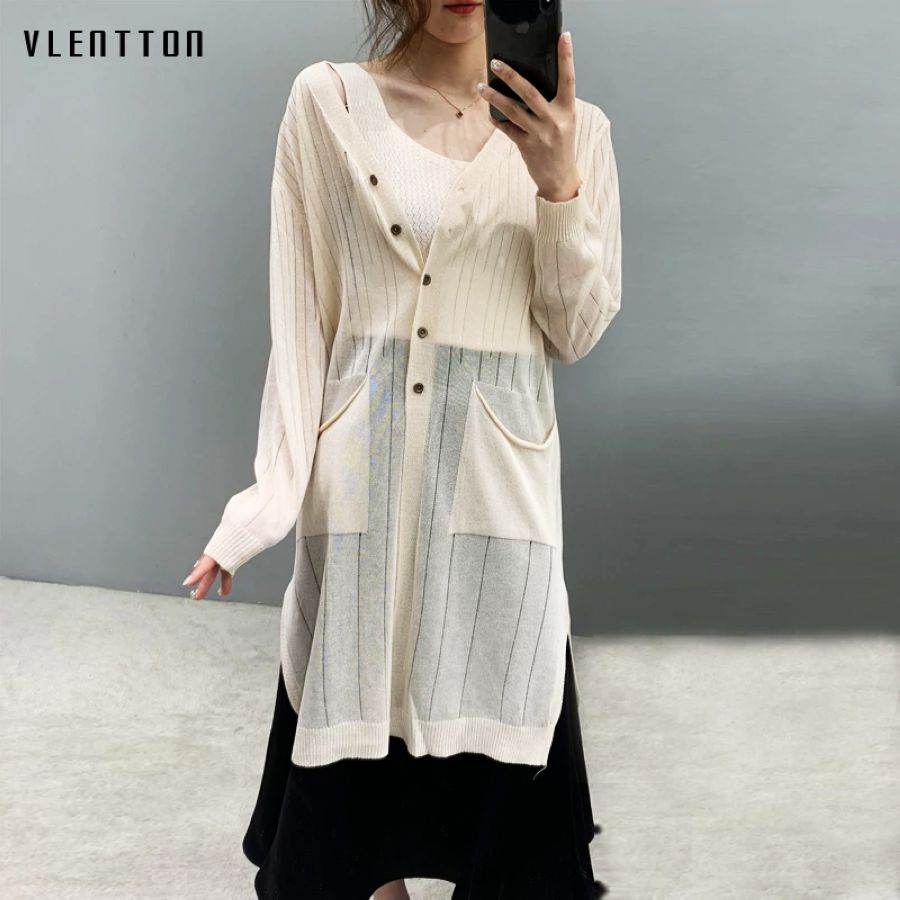 2019 New Elegant Long Cardigan Women Solid Long Sleeve Womens