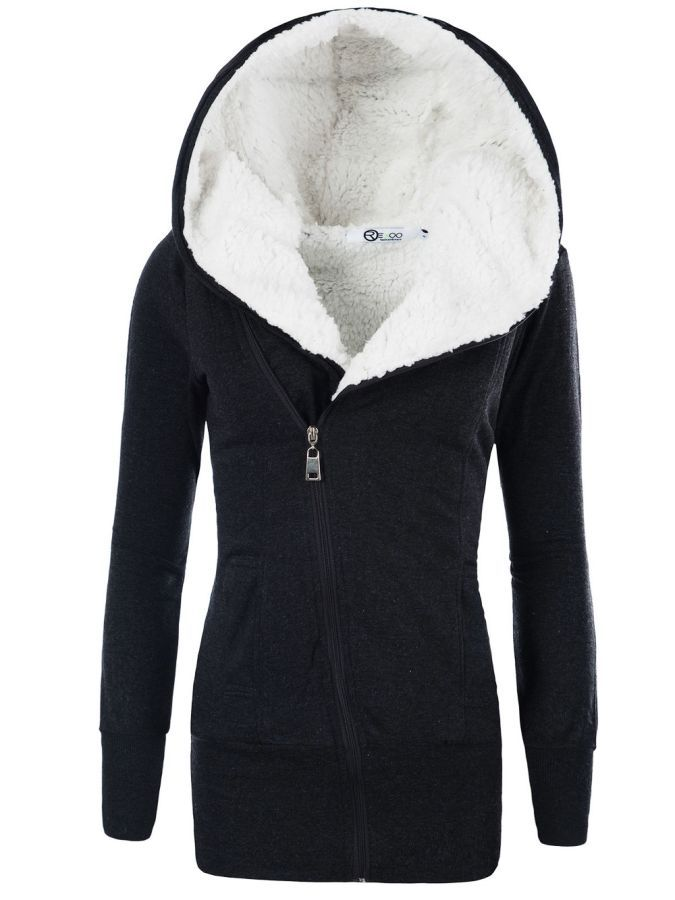 2019 Women Coats Winter Lamb Cashmere Overcoat Long Slim Zipper