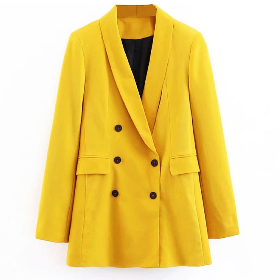 2019 Women Double Breasted Long Blazers Office Lady Small Suit