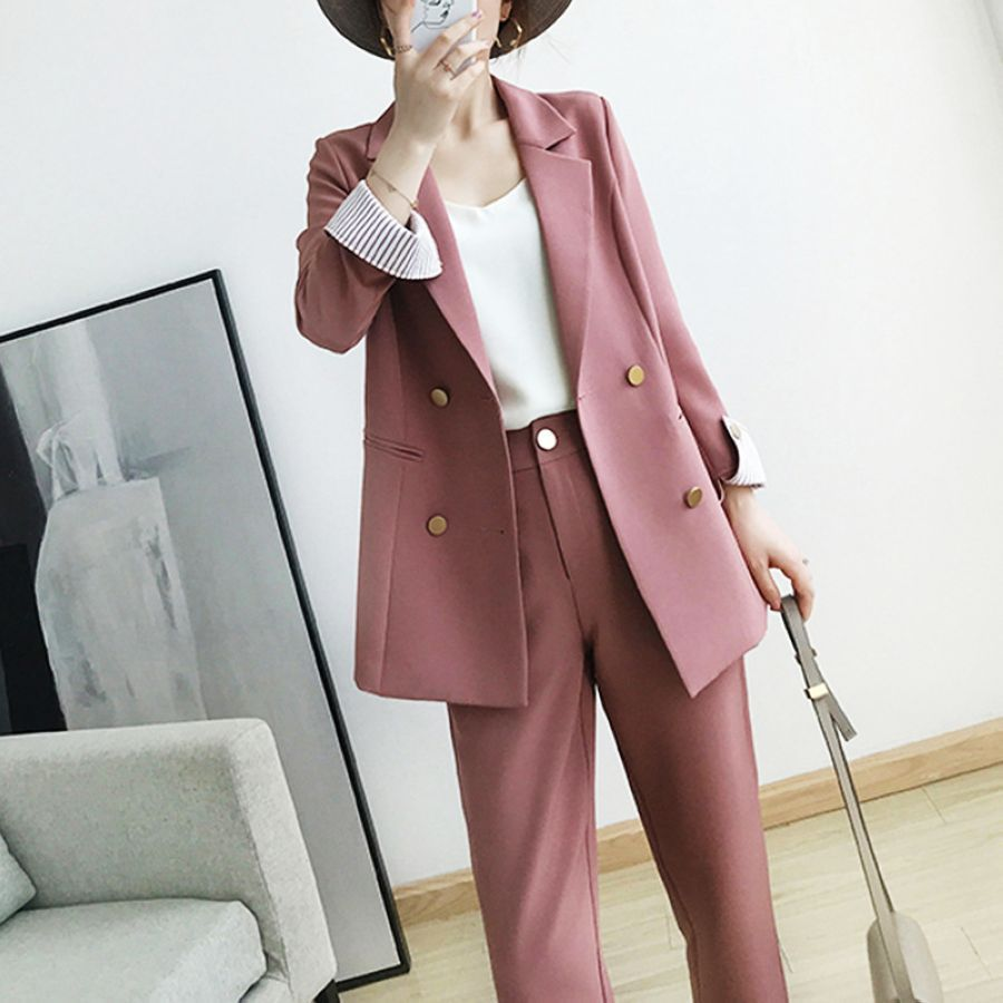 Work Pant Suits Ol 2 Piece Sets Double Breasted Plus