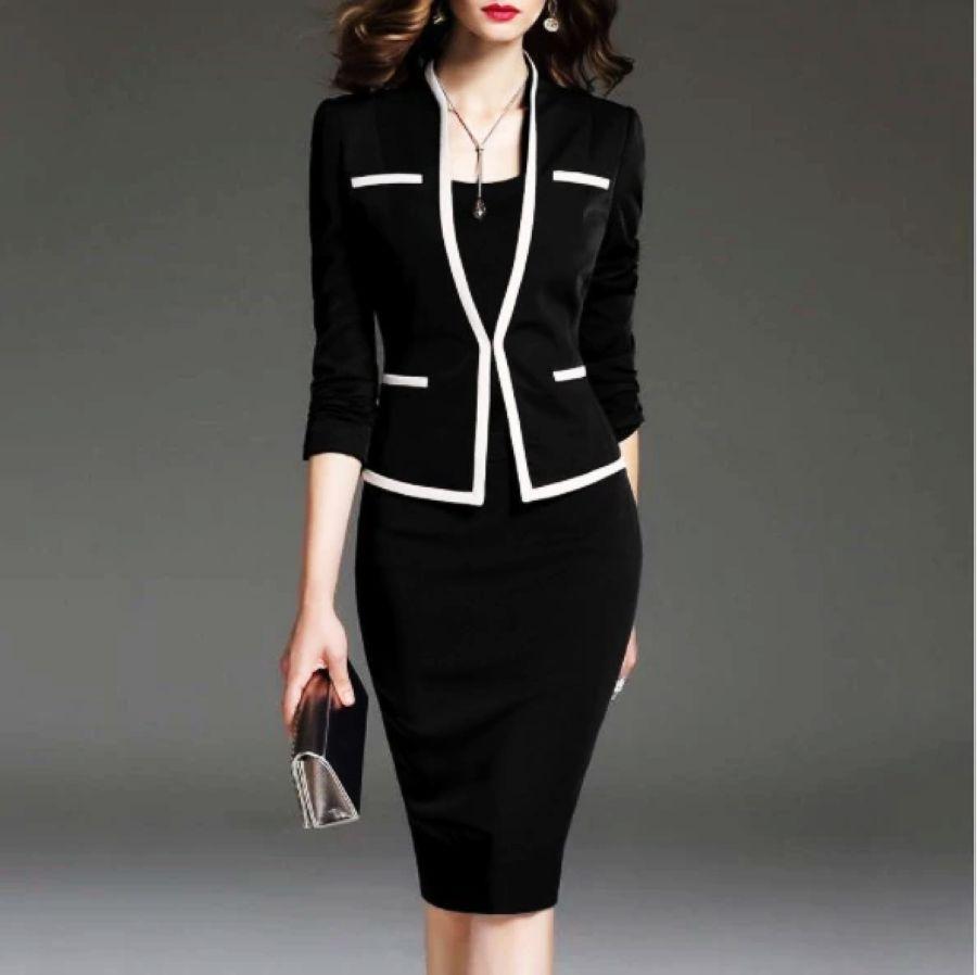 Women\'s Blazers - Bodycon Dress Suit Plus Size 2 Pieces Set Office