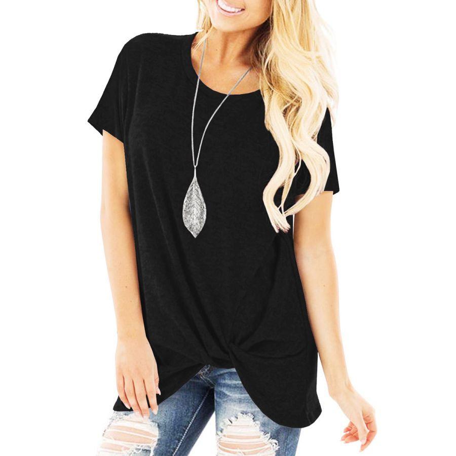 2019 New Summer Women T-Shirt Wear Short Sleeve Knotted