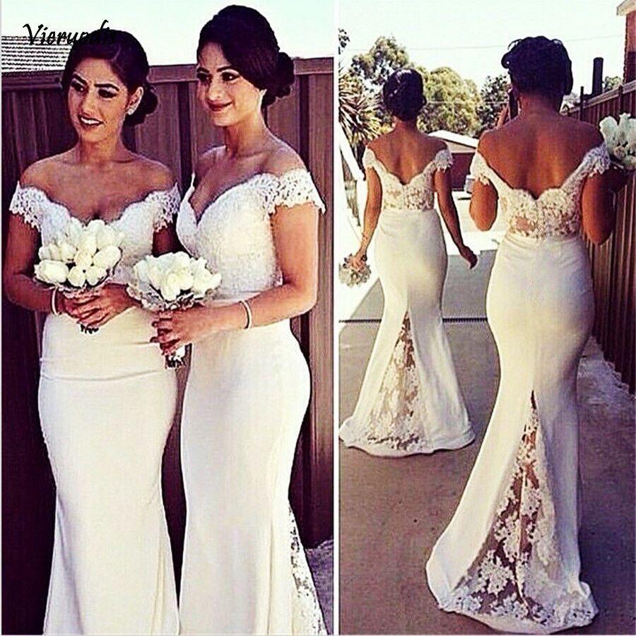 Womens Long Lace Appliques Bridesmaid Dresses White Mermaid Sleeveless Formal