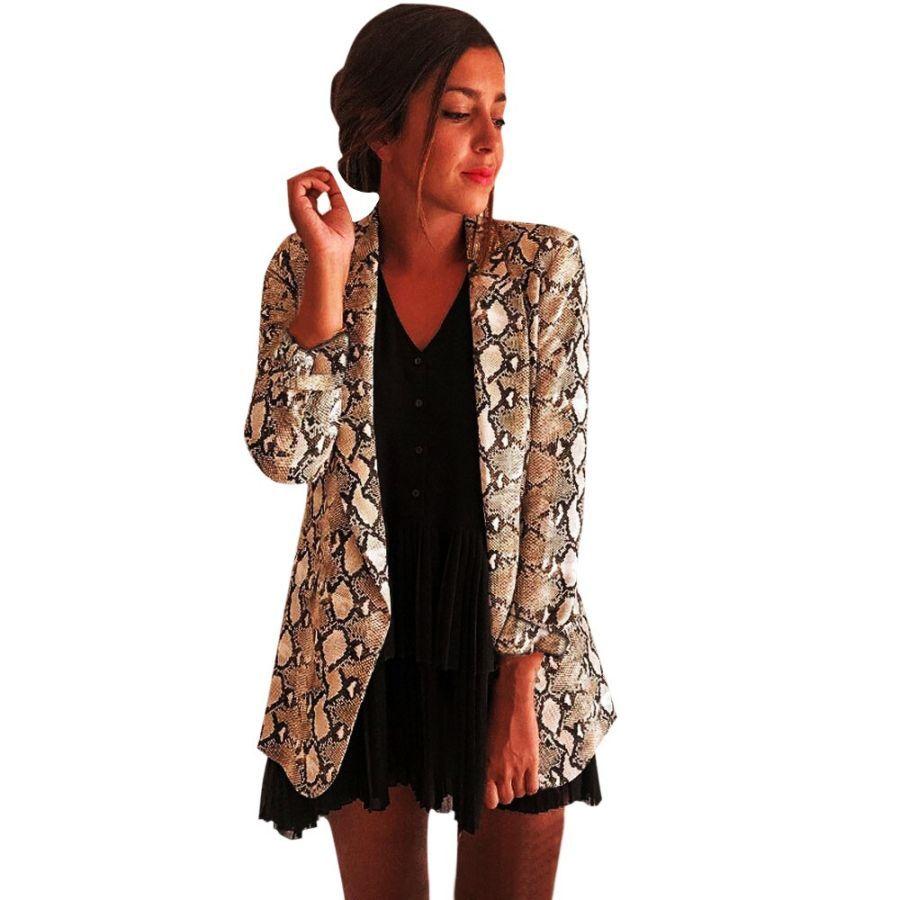 2019 Spring Women Snake Print Long Sleeve Blazer Jacket Outwear