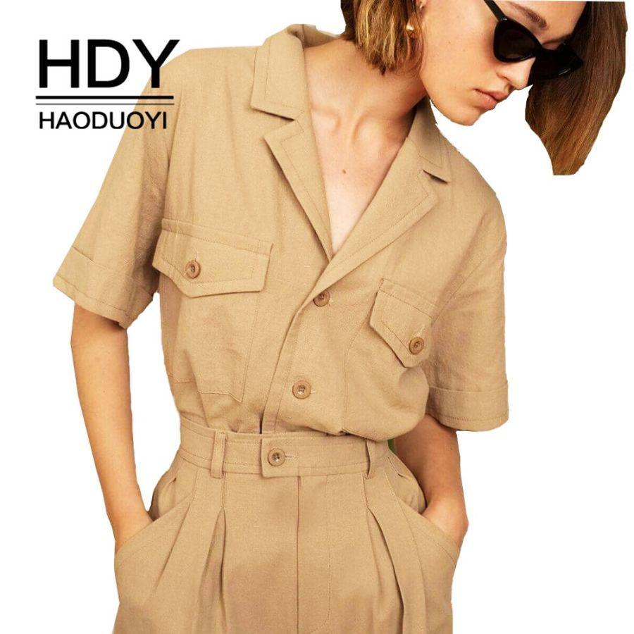 Solid Color Handsome Shirts Collar Multi-Pocket Decorative Femme Neutral Tops
