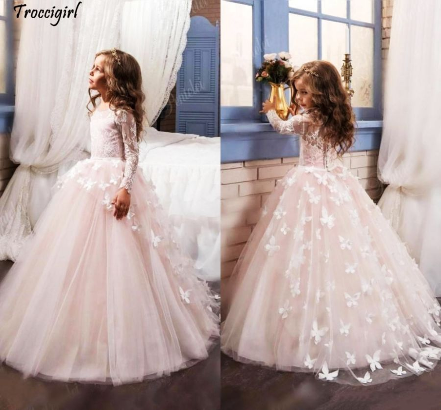 Lovely New Arrival Lace Flower Girls Dresses Long Illusion Sleeves