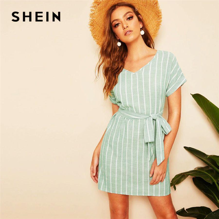 V Neck Vertical Striped Belted Dress 2019 Elegant Green Pastel