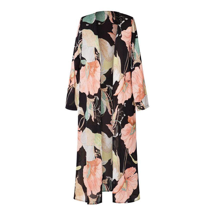 2019 Kimono Cardigan Women Long Sleeve Printed Shawl Beachwear Long