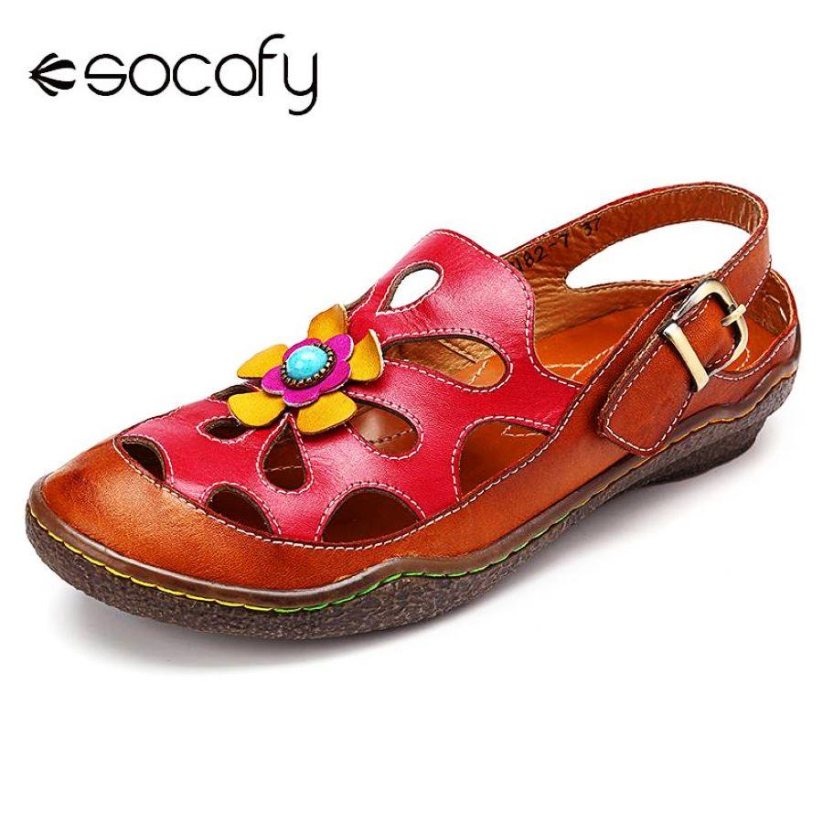 Socofy floral hollow out hook loop casual sandalias de